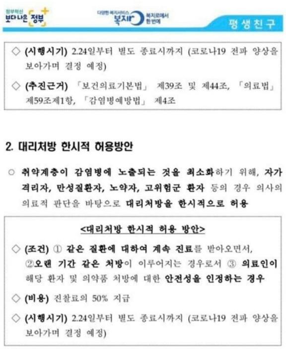 [공지] 코로나19에 따른 병의원 전화상담 처방 및 대리처방 한시적 허용 (2020.02.24~)